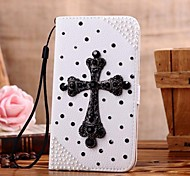 Diamond Cross PU Leather Full Body Case with Stand and Card Slot for iPhone 4/4S