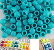 Approx 100PCS 8x9MM Greenish Blue Pearlescent Pony Beads For Rainbow Loom Bracelet DIY Accessories