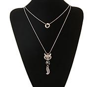 figura della volpe classica collana ciondolo doppia catena (1 pz)