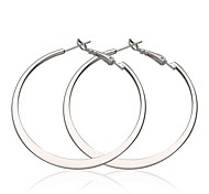 Fashion Big Circle White Platinum-Plated Hoop Earrings(White)(1Pair)