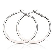 moda grande círculo branco banhado a platina brincos de argola (branco) (1pair)