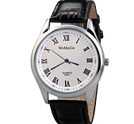 Men Alloy Round Dial Faux Leather Strap Quartz Dress Wrist Watch (Assorted Colors)