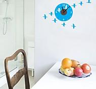zooyoo® elektronischen Batterie Uhr diy blauem Hintergrund mit Vögeln Wanduhr Wandaufkleberausgangsdekor für Zimmer