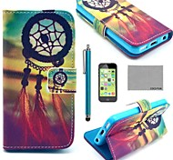 COCO FUN® Chinese knot Pattern PU Leather Full Body Case with Screen Protector,Stylus and Stand for iPhone 5C