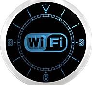 wi fi gratuito logo servizi internet neon ha condotto l'orologio da parete