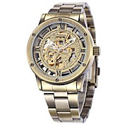 SHENHUA® Men's Bronze Skeleton Dial Steel Band Automatic Self Wind Wrist Watch Cool Watch Unique Watch