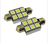 Carking™ 12V 2PCS 5050-6SMD-36MM Car Festoon Interior Light Rome Lamp White Light