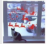 zooyoo® imagem bonito removível pvc colorido natal mais velho e vermelho de adesivos de parede decalques de parede venda quentes para a