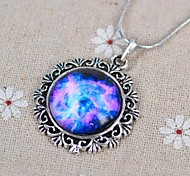 Women's Galaxy Star Time Gemstone Couple Necklace