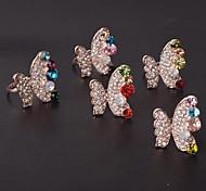 Korea Style Elegant Multicolor Butterfly Shape Women Adjustable Rings