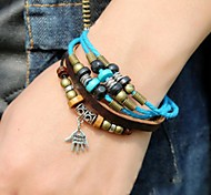 Lureme®Vintage Style  Palm Pendant Leather Bracelet