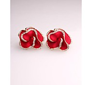 Korea Fashion Red Flower Imitation Diamond Gold Plated Stud Earrings for Women in Jewelry