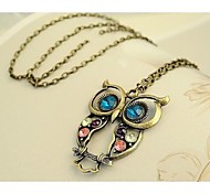 Love Is You Long Colorful Woodwork Owl Necklace