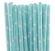 Biodegradable Blue Theme Party Paper Straws Hot Sale (25 PCS)