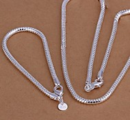 Lureme®Men's Jewelry set Plated 925 Silver Snake Chain of Bone Necklace Bracelet