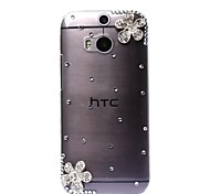 DIY Two Magnificent Flowers with Rhinestone Pattern Plastic Hard Case for HTC M8