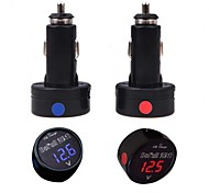 Portable 2-In-1 Dual Function USB Car Charger with Digital Voltmeter iPhone and Others (5V 2.1A)