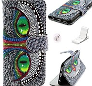 Green Eyes Owl Pattern PU Leather Cover and Mini Display Stand with Diamond Dust Plug for iPhone 6