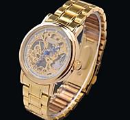 Women's Manual Mechanical Skeleton Stainless Steel Band Wrist Watch - Golden