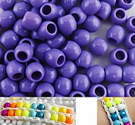 Approx 100PCS 8x9MM Purple Pearlescent Pony Beads For Rainbow Loom Bracelet DIY Accessories
