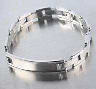 Men's Fashion Personality Bright Silver Titanium Steel Glaze Bracelets
