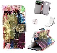Color Tower Pattern PU Leather Case and Mini Display Stand with Diamond Dust Plug for Samsung Galaxy S5 Mini