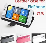 vendita calda cassa di cuoio dell'unità di elaborazione del cuoio di vibrazione 100% per elefono g3 sinistra a destra smartphone a 3 colori