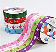 3/8 Inch The Stick Style Christmas Tree Pattern Rib Ribbon Printing Ribbon- 25 Yards Per Roll (More Colors)