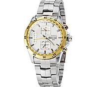 Men's Fashion Dial Steel Band Quartz Dress Watch (Assorted Colors)