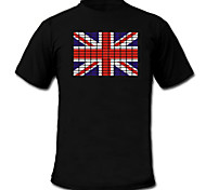 LED T-shirts Sound activated LED lights Textile National Flag 2 AAA Batteries