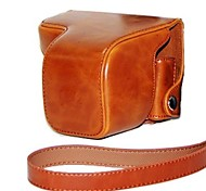 dengpin® de cuero de la piel aceite de cubierta de la bolsa de protección estuche de la cámara con la correa de hombro para Sony NEX-6 nex6