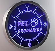 nc0291 pet grooming cane Gatti insegna al neon ha condotto l'orologio da parete