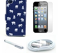 Indian Elephant Pattern PU Leather Case and Screen Protector and Stylus and Cable for iPhone 4/4S