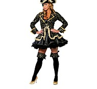 Women's  Halloween Classic Black gold pirates Cosplay  Costume