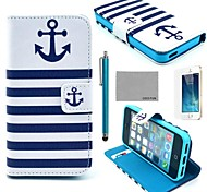 iPhone 7 Plus COCO FUN® Anchor PU Leather Full Body Case with Film, Stand and Stylus for iPhone 5/5S