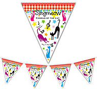 Cartoon Cat Music Note Birthday Flag Banner Party Accessory