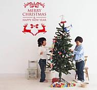 zooyoo® bonito pvc palavra colorida removível natal arte e dois ursos de adesivos de parede e adesivos de parede para a decoração da casa