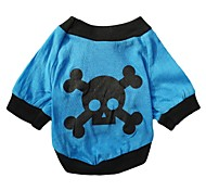 Cool Blue Skull Pattern 100% Cotton Vest for Pets Dogs (Blue Assorted Sizes)