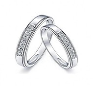 I FREE SILVER®Valentine's Day Gift S990 Sterling Silver Couple Rings 2 pcs Promis rings for couples