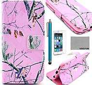 COCO FUN® Pink Branch Pattern PU Leather Case with Screen Protecter, Stand and Stylus for iPhone 6 Plus