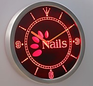 nc0246 Nails OPEN Beauty Salon Neon Sign LED Wall Clock