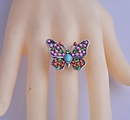 Lureme®Crystals Measle Colorful Butterfly Ring