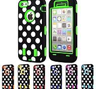 3-in-1 dot design modello rigido con silicone di copertina per iphone5c (colori assortiti)