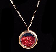 aleación redonda de cristal magnética rhinestone rojo medallón de estar pendiente flotante