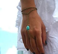 Women's  Fashion Personality Turquoise Connect Fingers Chain  Bracelets