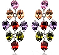Vintage Women's  Crystal Leaf Shape Drop Earrigs