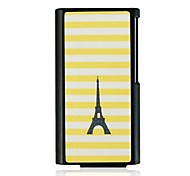 Yellow Striped Black Tower Leather Vein Pattern Hard Case for iPod Nano7