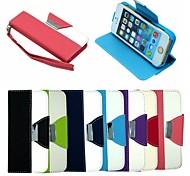 portefeuille en cuir étui en cuir flip reposer couvert avec porte-cartes pour l'iphone 5 / 5s (couleurs assorties)