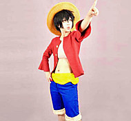 Inspiré par One Piece Monkey D. Luffy Anime Costumes de cosplay Costumes Cosplay Mosaïque Rouge Manches mi-longues Top / Shorts / Ceinture