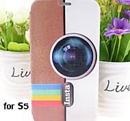 Kamera Muster PU-Leder Ganzkörper-Case mit Ständer für Samsung Galaxy i9600 s5